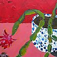 Painting the last Christmas cactus painting this year,  8x8, Dec 14.09