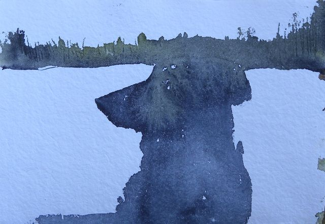 Angus  in the Wilds of Ontario  5x6, watercolour, Caruthers paper, May 27/10
