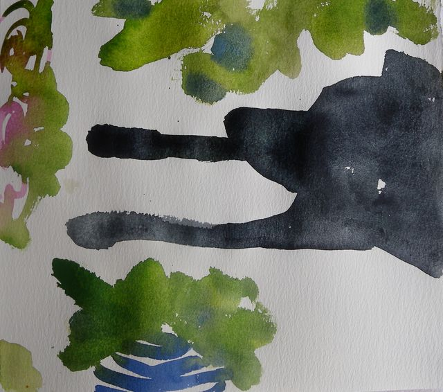 Angus watching me paint in the backyard,  7x10, watercolour August 2/10