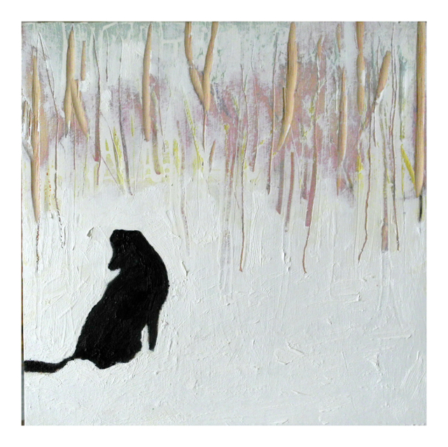 Angus wondering when the snow will end, 9x9,oil on wood, incised, March 10/11