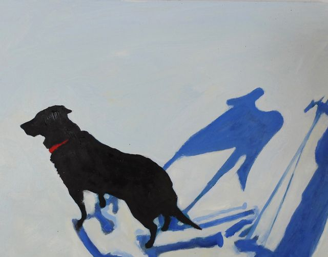 """Snow travels with Angus I, 2015, 14x18x1"""", oil on wood panel"""