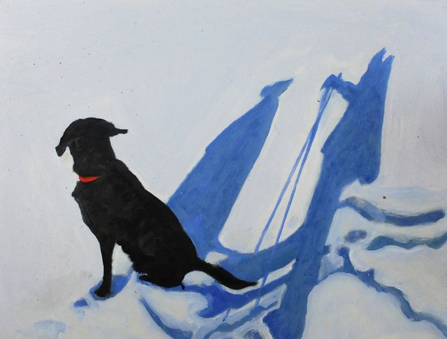 """Snow travels with Angus, 14 x18 x 1"""", oil on wood panel, 2015"""