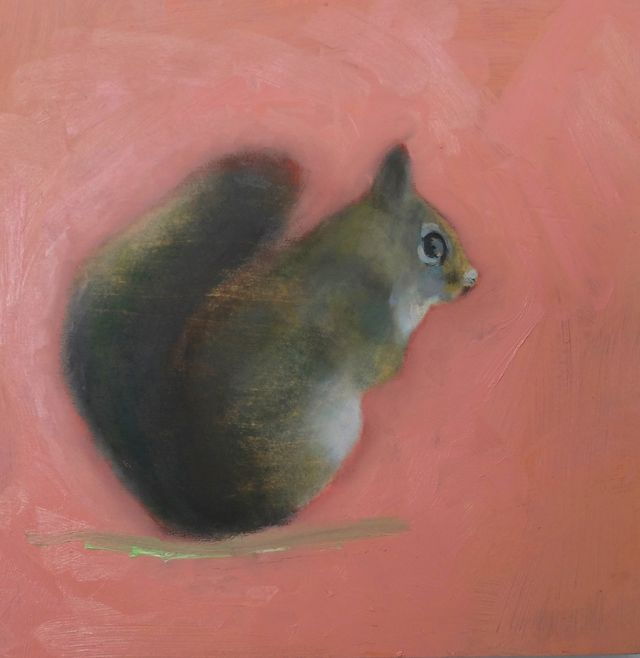 """The Little Grey Squirrel Who Lives in the Woodshed, 2015, oil on wood panel 12x12x1"""""""