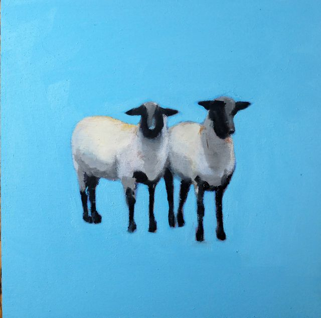 Meet the Suffolkers, Two, 12x12x1, oil on wood panel, 2015