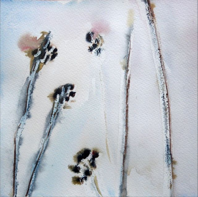 Summer leftovers in the snow,  8x8, watercolour Jan 10/10