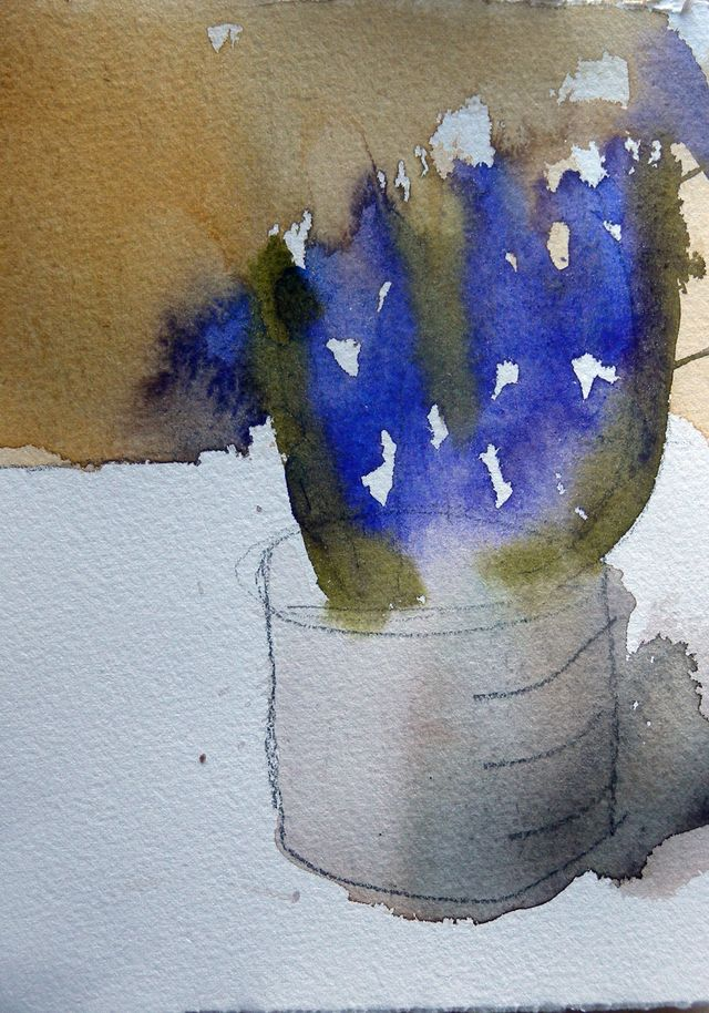 Thinking of Spring, 4x6, watercolour, arches paper, Feb1/10