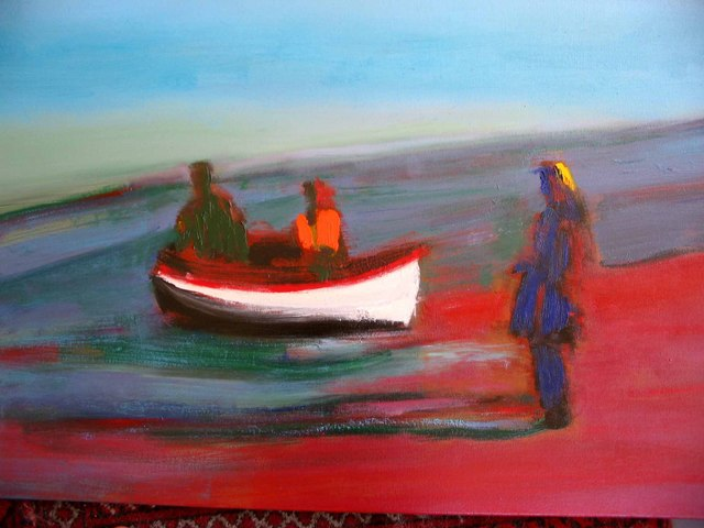 """Das Boat is Full, oil on canvas, 24""""x36"""", 2005 NFS"""