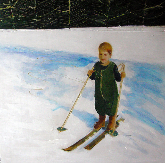 """David's First Skis, 32x32"""", oil on wood, incised,  2008 (NFS)"""