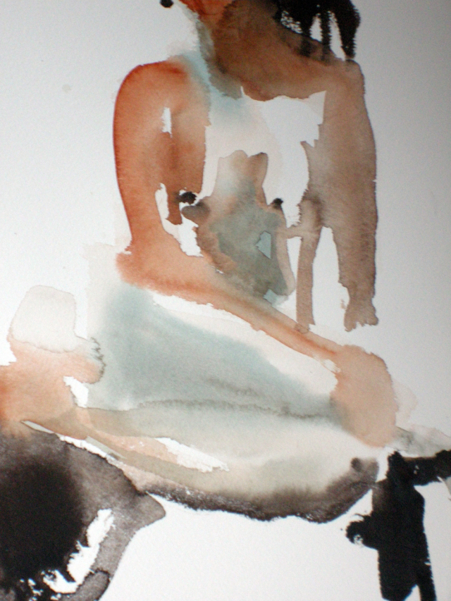 Resuming live model sessions, watercolour 12x15, December 2.09