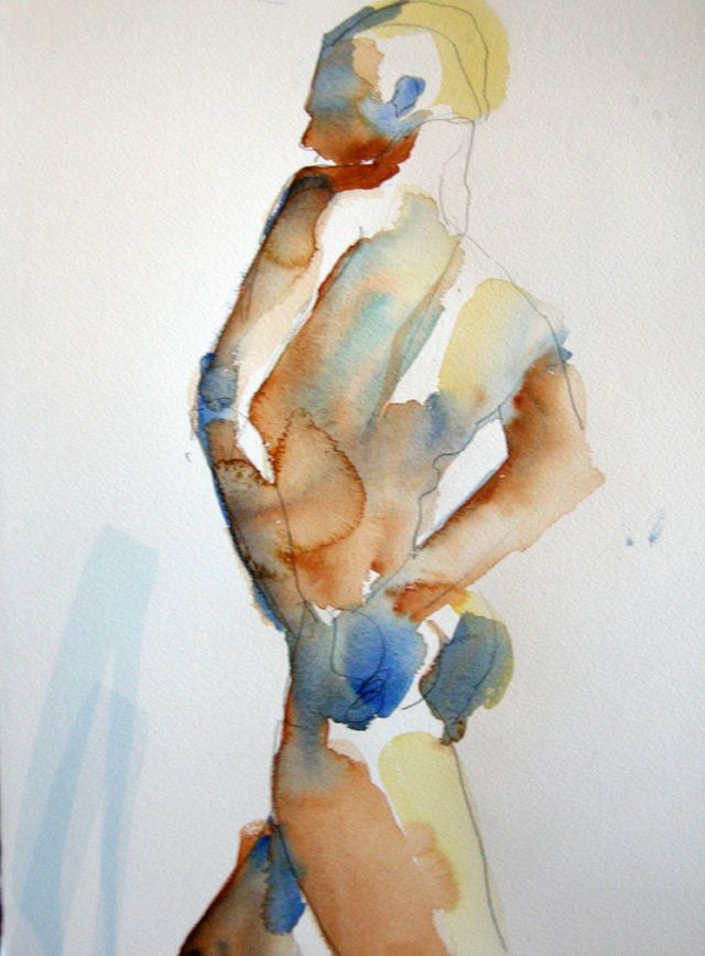 A strong nude,  watercolour,12x15, March 29, 2009