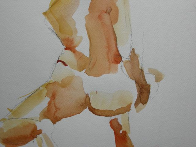 Live Model Sessions, Once Again,9x12, watercolour+charcoal, Jan 23/09