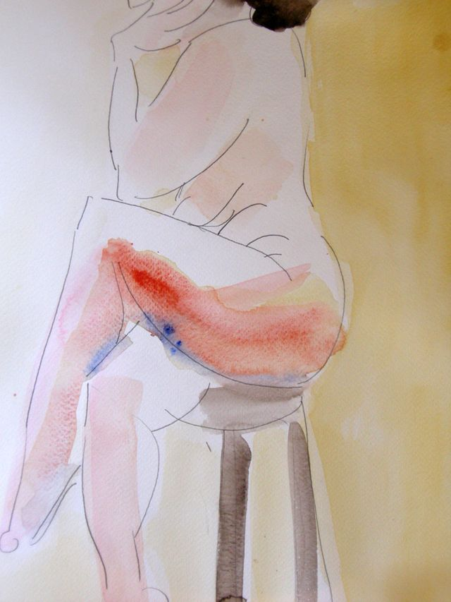 Un-anorexic  People, watercolour, 10 x13,  March 15, 2009