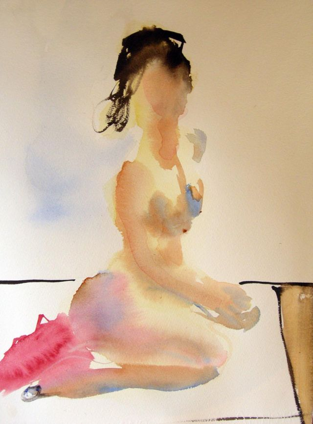 """Live Model Painting, watercolour, arches paper, 11x15""""  Feb 7/09"""
