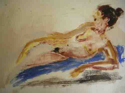 """Nude with blue blanket, 19x24"""" encaustic, acrylic on paper"""