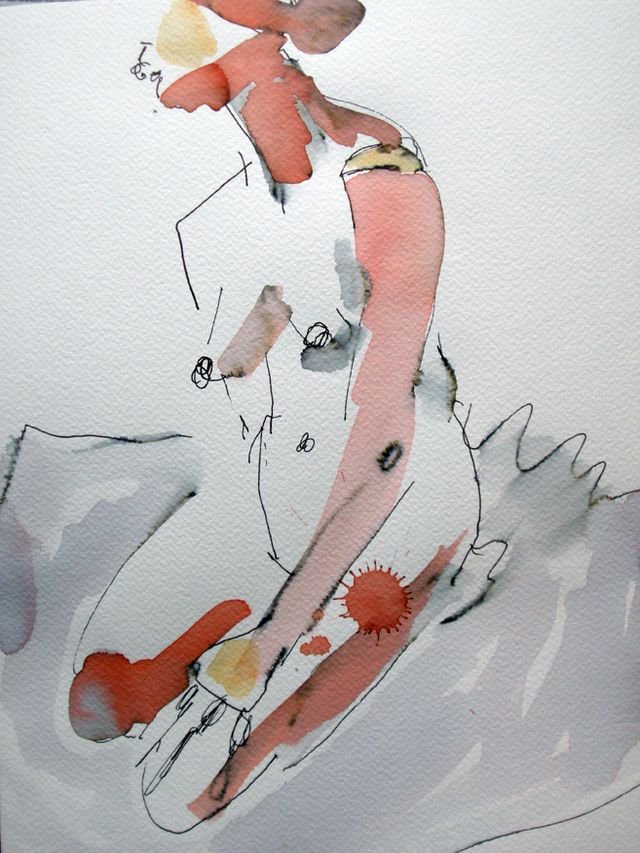 """Nude#11,9x12"""", Fabriano paper, ink, watercolour, 2009"""