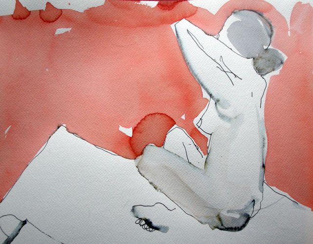 """Nude  #12, 9x12"""", Fabriano paper,  ink + watercolour, 2009"""