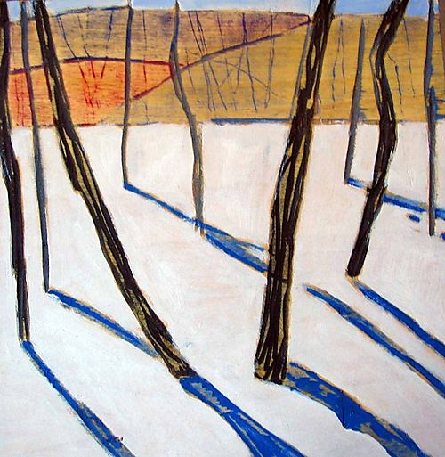 """Wintertrees #21, 16x16x1.75"""", oil on carved wood, 2007"""