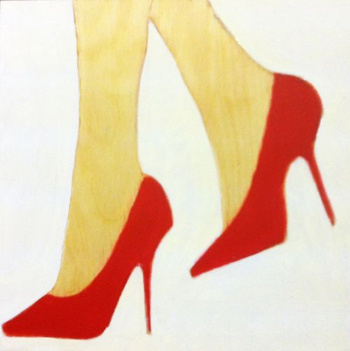 """""""Red Shoes, Red Shoes"""", 12x12, oil on gauged wood, 2012"""