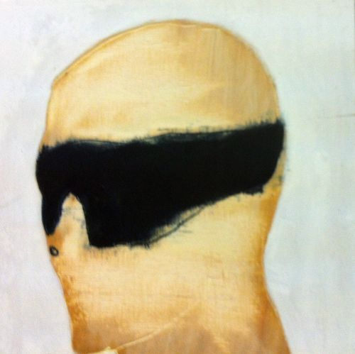 """""""Who was that masked man?"""", 12x12"""", oil on gouged wood, 2012"""